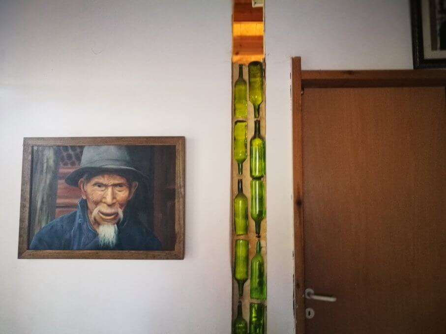 Paintings by Sharon- a Chinese old man and light transfering wall